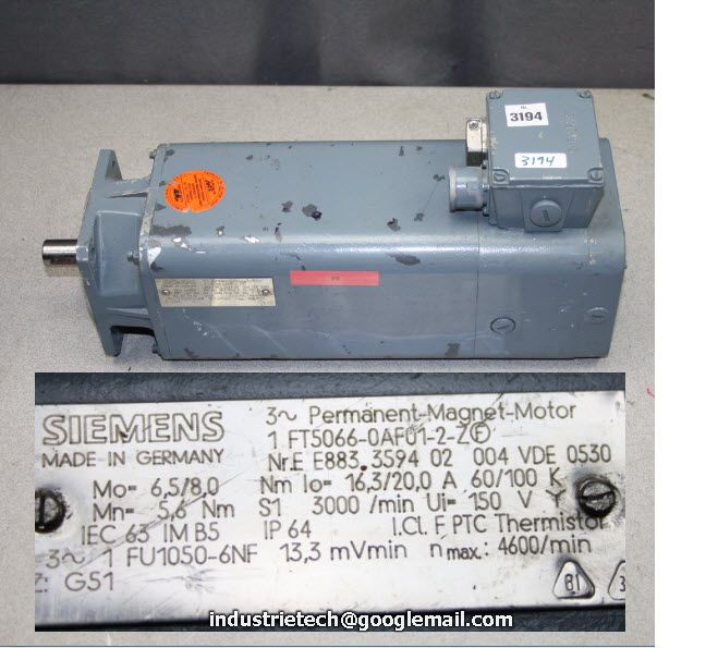 Siemens 1ft5066 0af01 2 z f servo motor servo motors for Siemens electric motors catalog